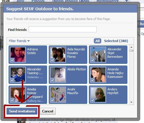 Inviter alle venner på facebook